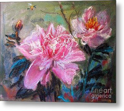 Metal Print featuring the painting Peony by Jieming Wang