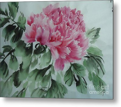 Metal Print featuring the painting Peony425012-9 by Dongling Sun