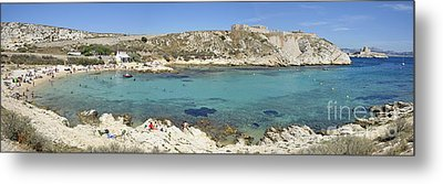 People At Sainte-esteve Beach Metal Print by Sami Sarkis