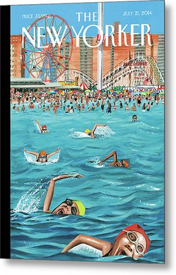 People Enjoying Themselves At Coney Island Metal Print