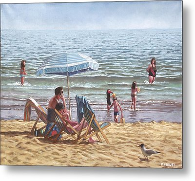 People On Bournemouth Beach Parasol Metal Print by Martin Davey