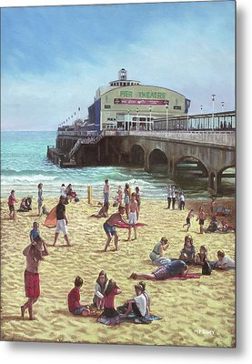 people on Bournemouth beach Pier theatre Metal Print by Martin Davey
