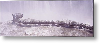 People On Cat Walks At Floodwaters Metal Print by Panoramic Images