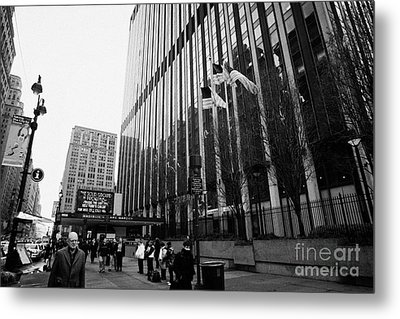 people on the sidewalk outside madison square garden with US flags flying new york city Metal Print by Joe Fox