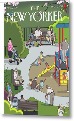 People Playing At A Playground Withtheir Kids Metal Print by Chris Ware
