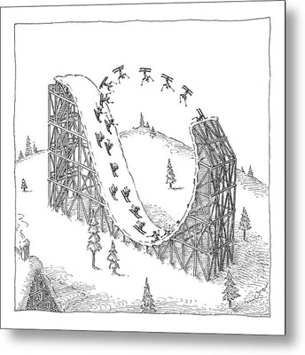 People Ski On A Circular Ski Ramp That Resembles Metal Print