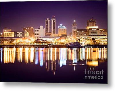 Peoria Illinois At Night Downtown Skyline Metal Print by Paul Velgos