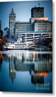 Peoria Illinois Cityscape And Riverboat Metal Print by Paul Velgos