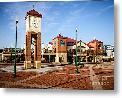 Peoria Illinois Riverfront Businesses And Clock Tower Metal Print by Paul Velgos