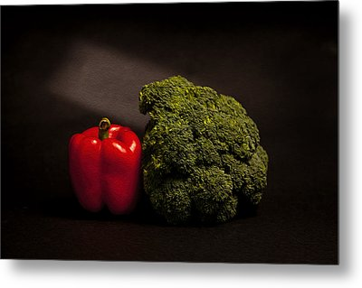 Pepper Nd Brocoli Metal Print by Peter Tellone