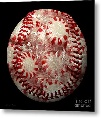 Peppermint Candy Baseball Square Metal Print