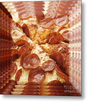 Pepperoni Pizza 25 Pyramid Metal Print by Andee Design
