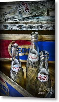 Pepsi Bottles And Crates Metal Print