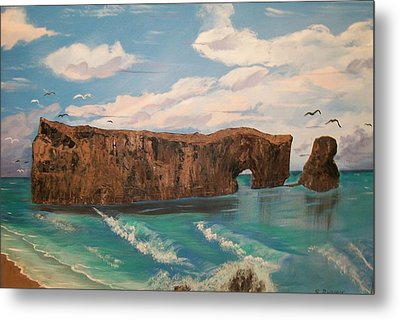 Metal Print featuring the painting Perce Rock by Sharon Duguay