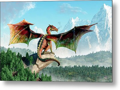 Perched Dragon Metal Print