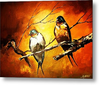 Perched Swallows Metal Print