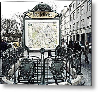 Paris Pere Lachaise Metro Station Map And Pere Lachaise Art Nouveau Architecture Metal Print