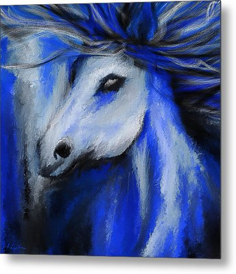 Perfect Blue- Gray And Blue Painting Metal Print by Lourry Legarde
