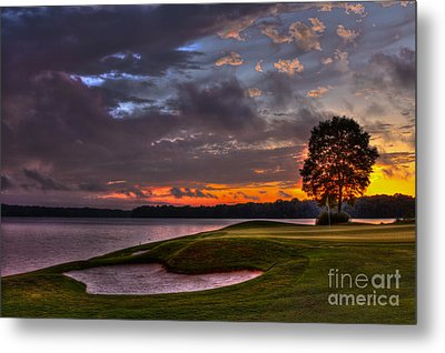 Perfect Golf Sunset In Reynolds Plantation Metal Print by Reid Callaway