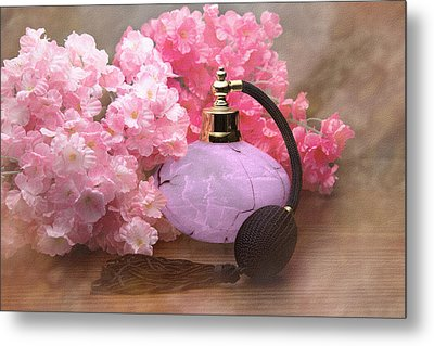 Perfume And Posies Still Life Metal Print by Tom Mc Nemar