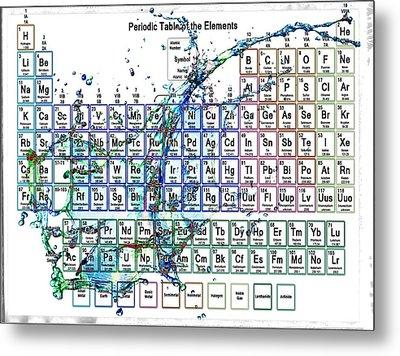 Periodic Table Colorful Liquid Splash Metal Print