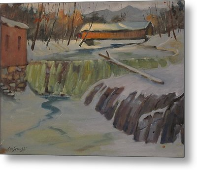 Metal Print featuring the painting Perrines Covered Bridge by Len Stomski