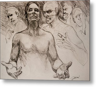 Metal Print featuring the drawing Persecution Sketch by Jani Freimann