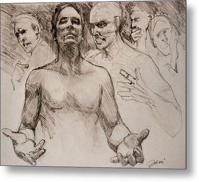 Persecution Sketch Metal Print by Jani Freimann