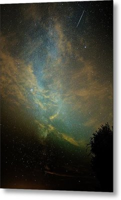 Perseid Meteor Trail In The Night Sky Metal Print by Chris Madeley