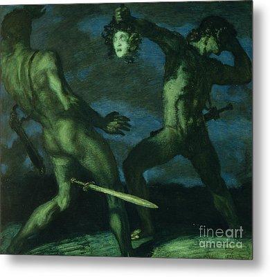 Perseus Turns Phineus To Stone By Brandishing The Head Of Medusa Metal Print