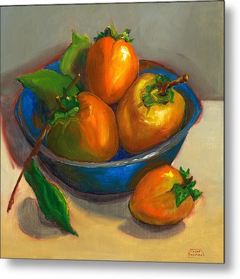 Persimmons In Blue Bowl Metal Print by Susan Thomas