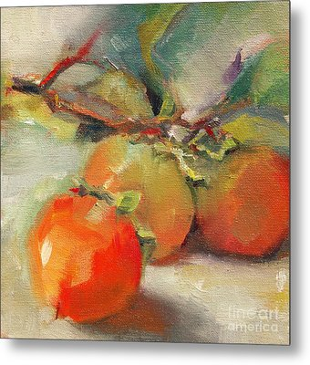 Persimmons Metal Print by Michelle Abrams