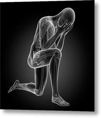 Person Kneeling Metal Print by Sebastian Kaulitzki