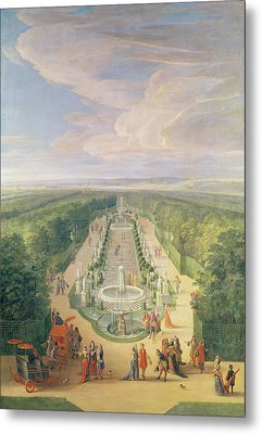 Perspective View Of The Grove From The Galerie Des Antiques At Versailles, 1688 Oil On Canvas Metal Print by Jean-Baptiste Martin