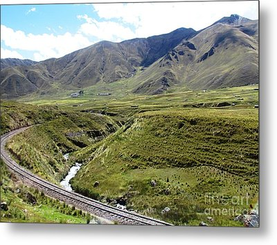 Peru Mountain Pass Rail Road Metal Print