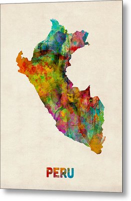 Peru Watercolor Map Metal Print by Michael Tompsett