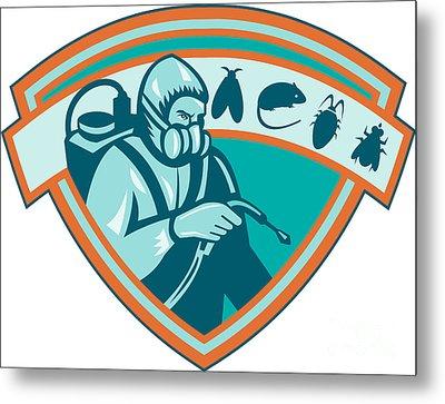 Pest Control Exterminator Worker Shield Metal Print by Aloysius Patrimonio