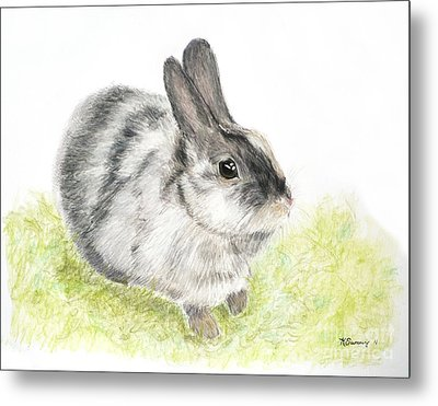 Pet Rabbit Gray Pastel Metal Print