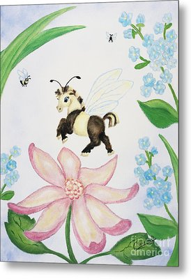 Metal Print featuring the painting Petal Jumper by Cathy Cleveland