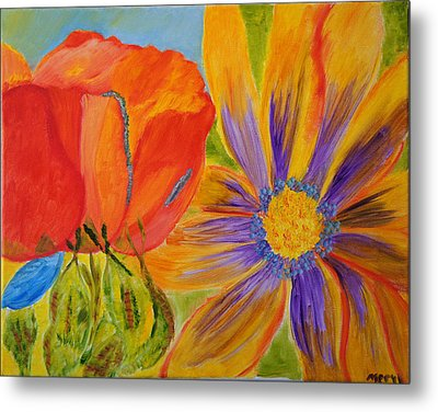 Metal Print featuring the painting Petals Up Close by Meryl Goudey