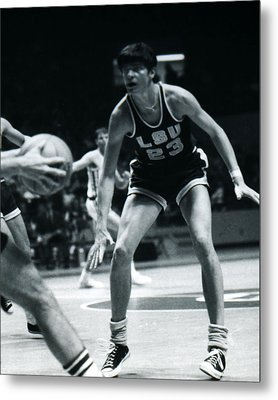 Pete Maravich Playing Defense Metal Print