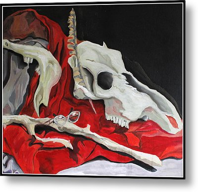 Pete The Skull Metal Print by Kip Krause