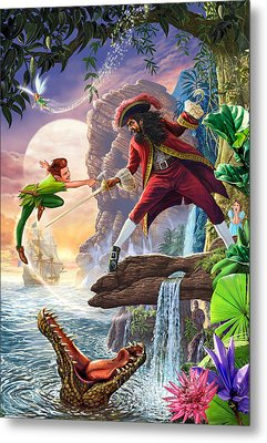 Peter Pan And Captain Hook Metal Print by Steve Crisp