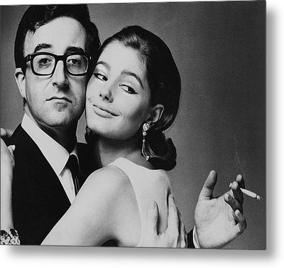 Peter Sellers Posing With A Model Metal Print