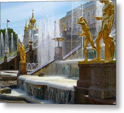 Peterhof Palace Fountains Metal Print by David Nichols