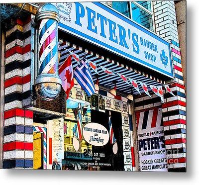 Peter's Barber Shop Circa 1961 Metal Print by Nina Silver