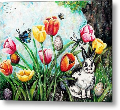 Metal Print featuring the painting Peters Easter Garden by Shana Rowe Jackson