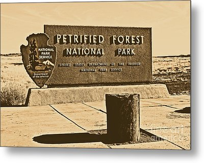 Petrified Forest National Park Entrance Sign Rustic Metal Print by Shawn O'Brien
