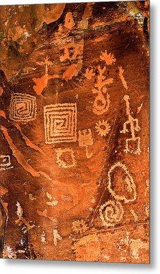 Petroglyph Symbols Metal Print by Phyllis Denton