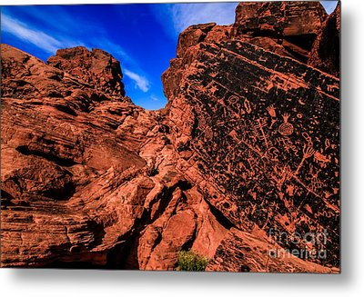 Petroglyphs Of Valley Of Fire Canyon Metal Print by Brenda Giasson